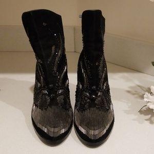 Donald J Pliner Quiva black embellished suede boot